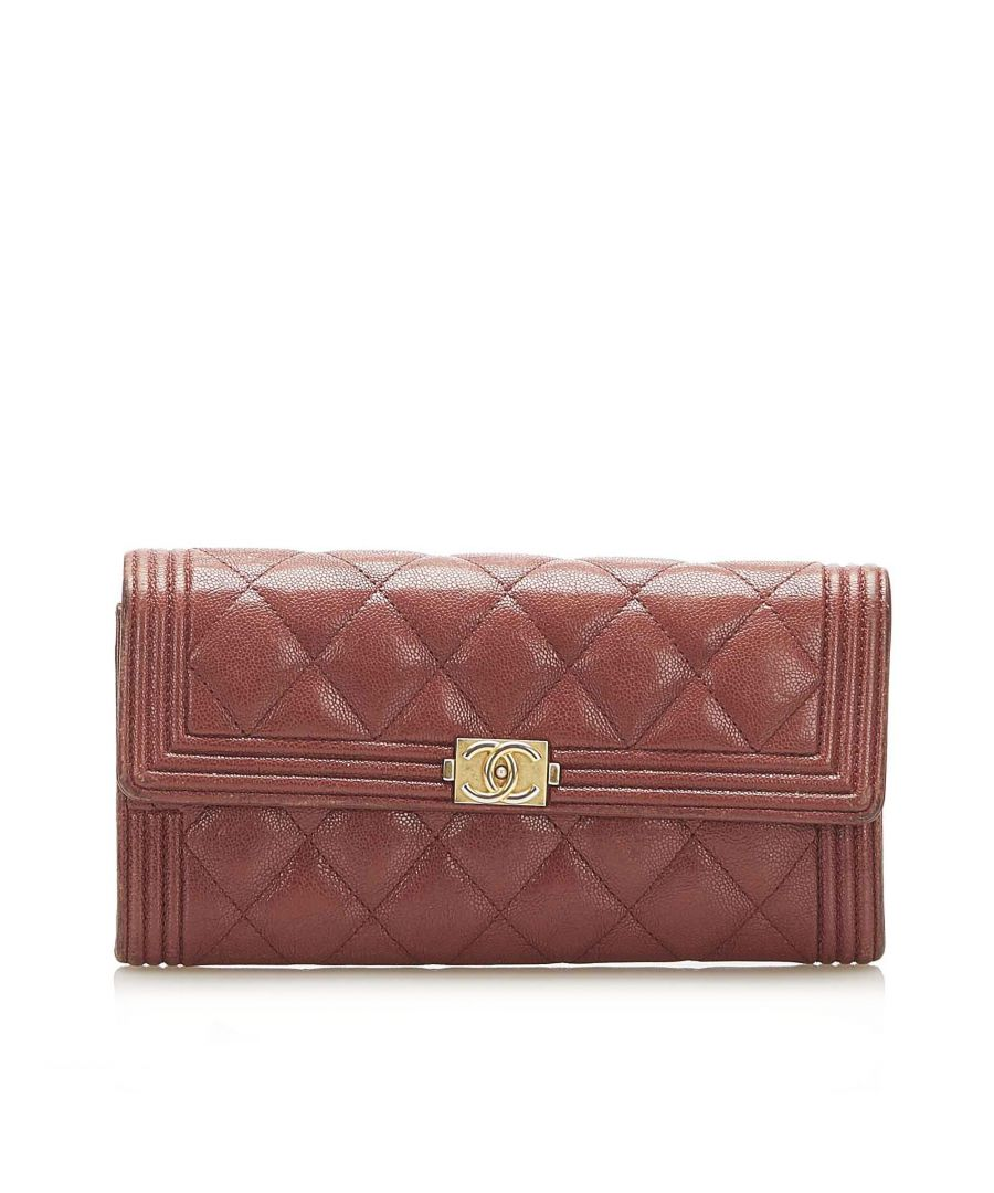 Image for Vintage Chanel Le Boy Lambskin Leather Long Wallet Red