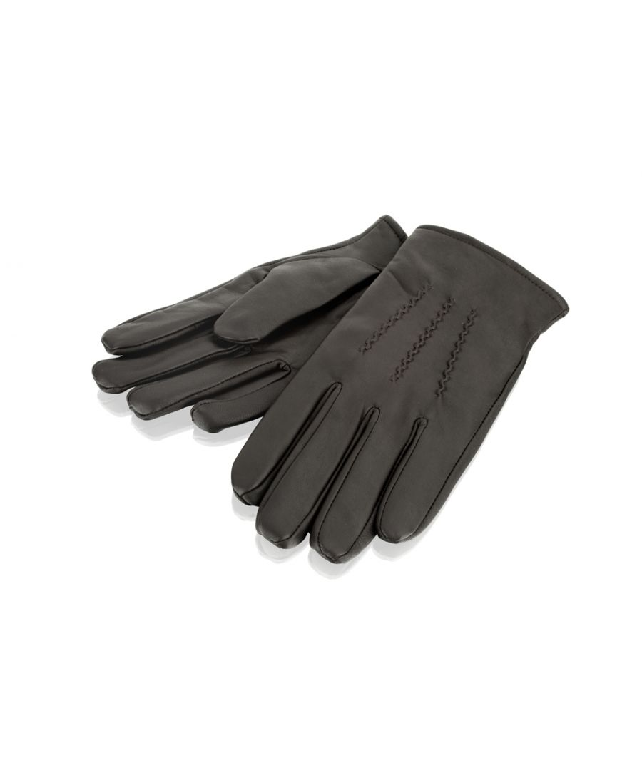 Image for Mens Brown Stitch Detail Leather Gloves