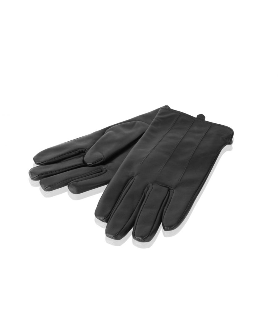 Image for Mens Black Stitch Detail Leather Gloves