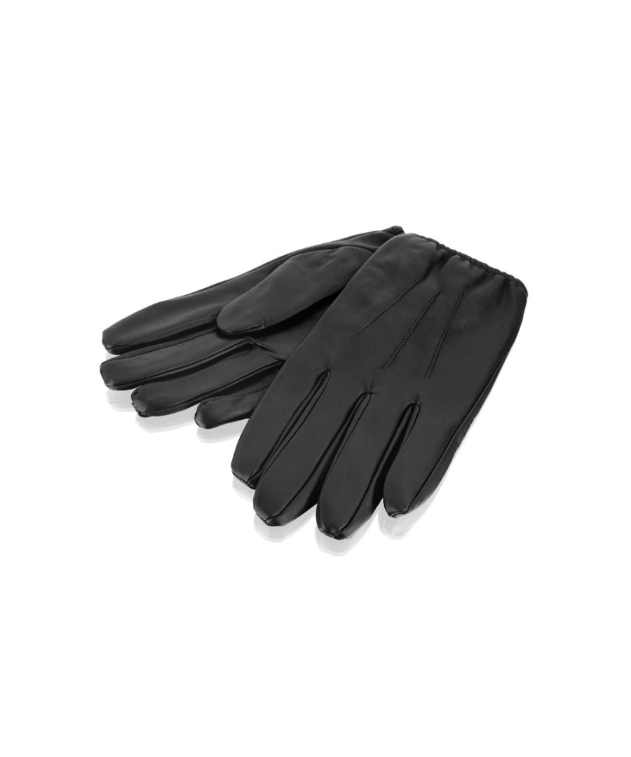 Image for Mens Black Leather Elasticated Driving Glove