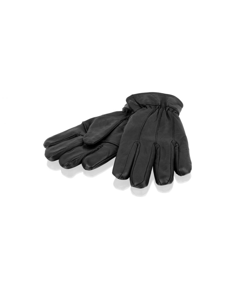 Image for Mens Black Classic Stitch Detail Glove Leather Gloves