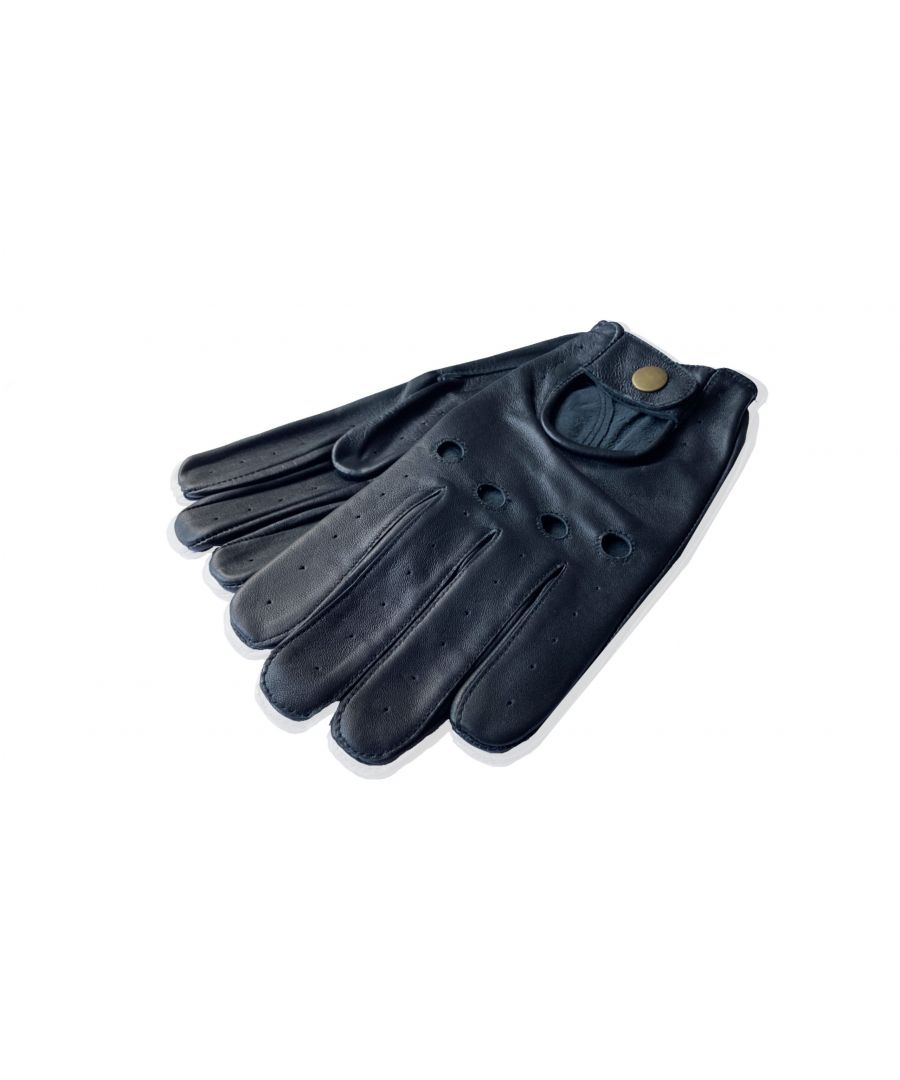 Image for Mens Black Perforated Leather Driving Glove