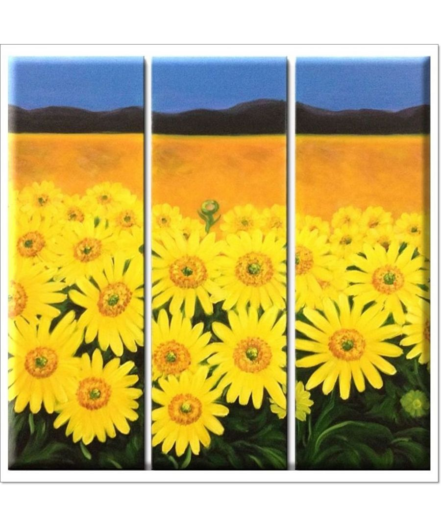Image for Oil Painting - Happy Sunflowers Cm. 60x60 (3 Panels)