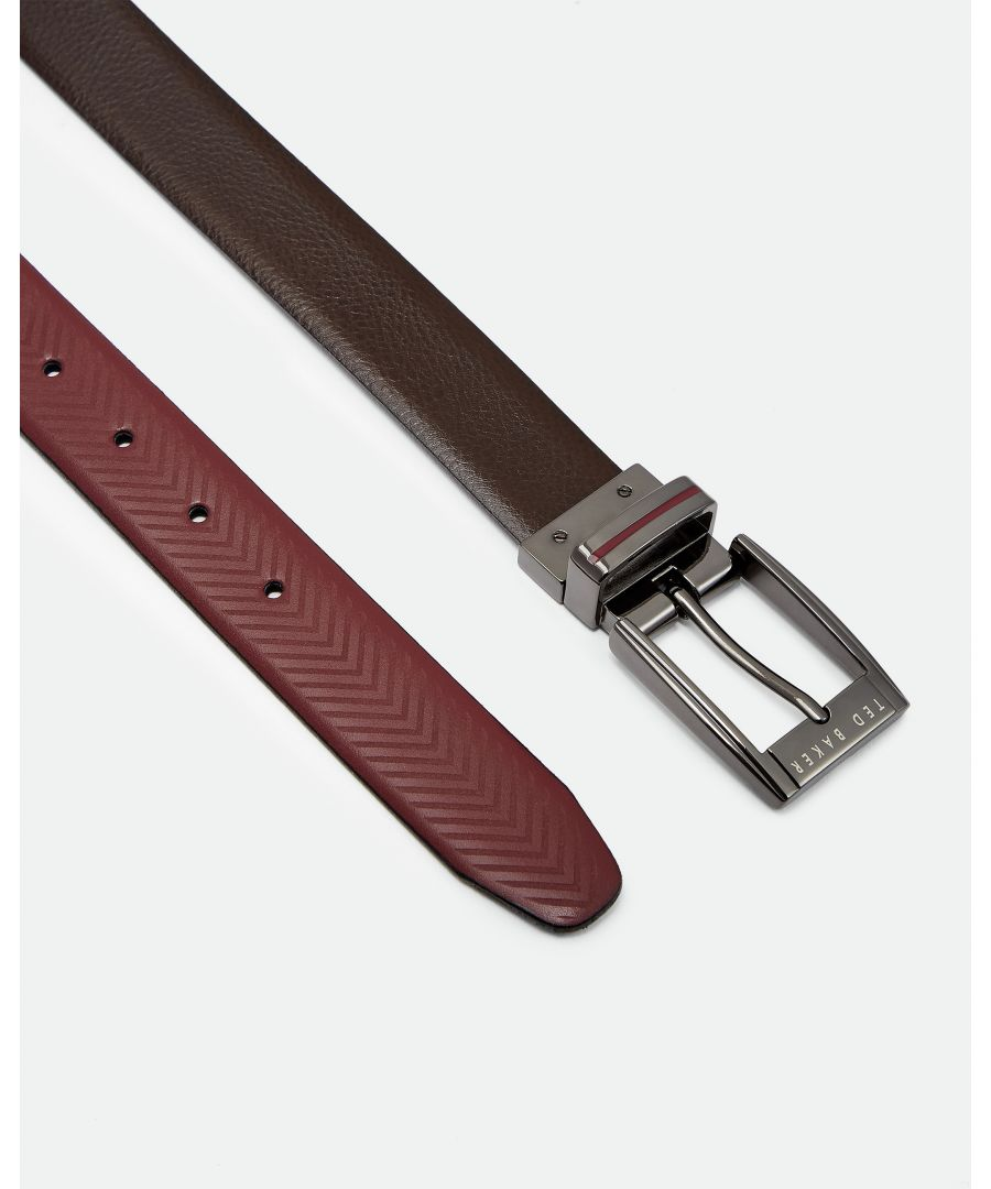 Image for Ted Baker Hammok Herringbone Reversible Belt, Chocolate