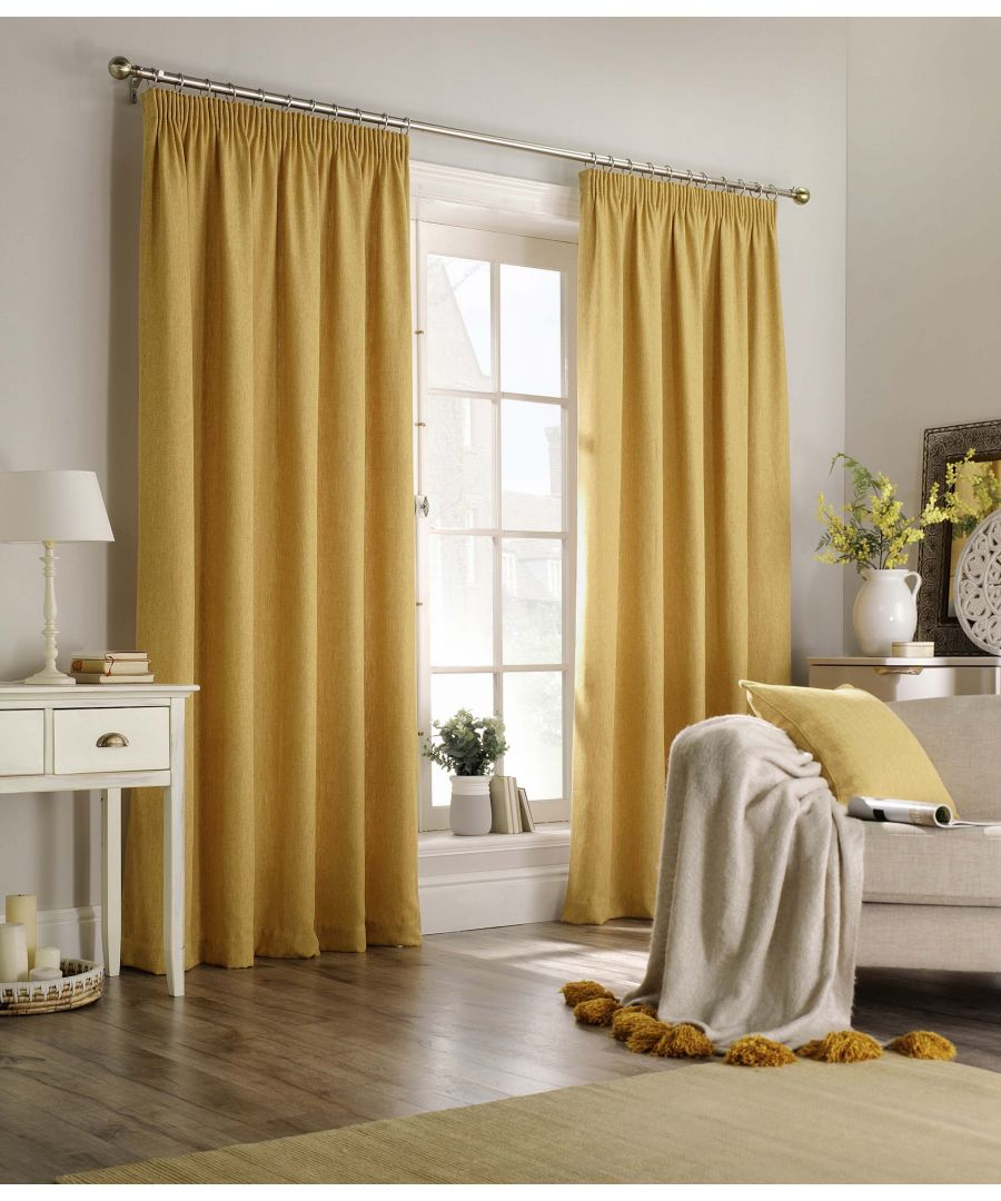 Image for Harrison Herringbone Pencil Pleat Curtains in Ochre