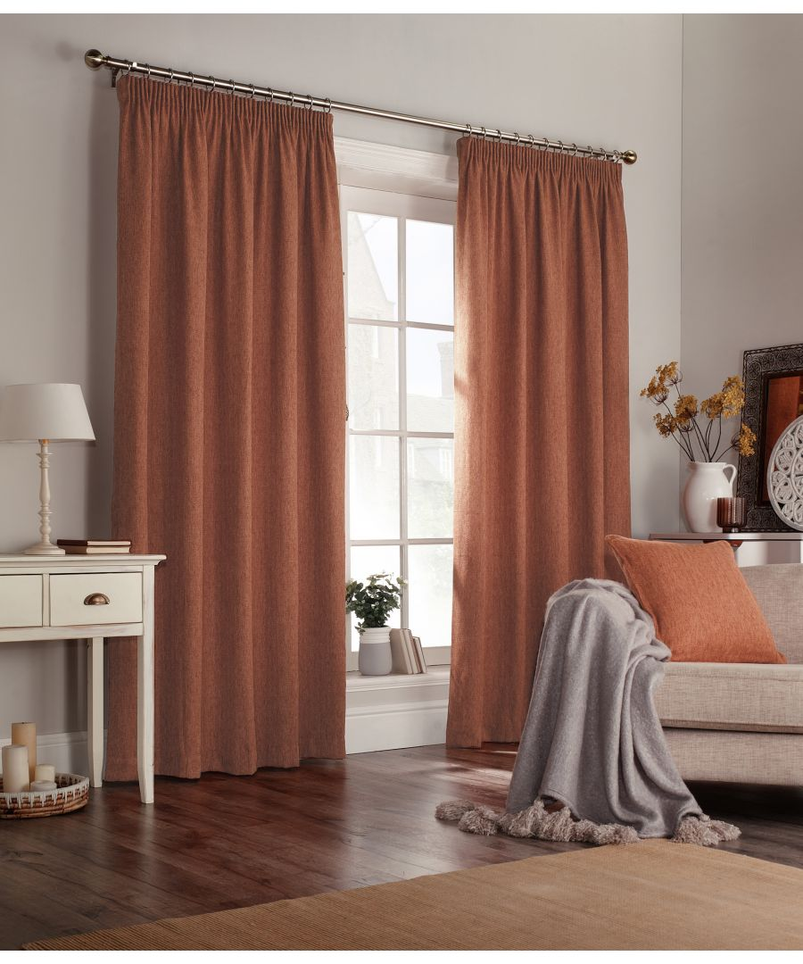 Image for Harrison Herringbone Pencil Pleat Curtains in Burnt Orange