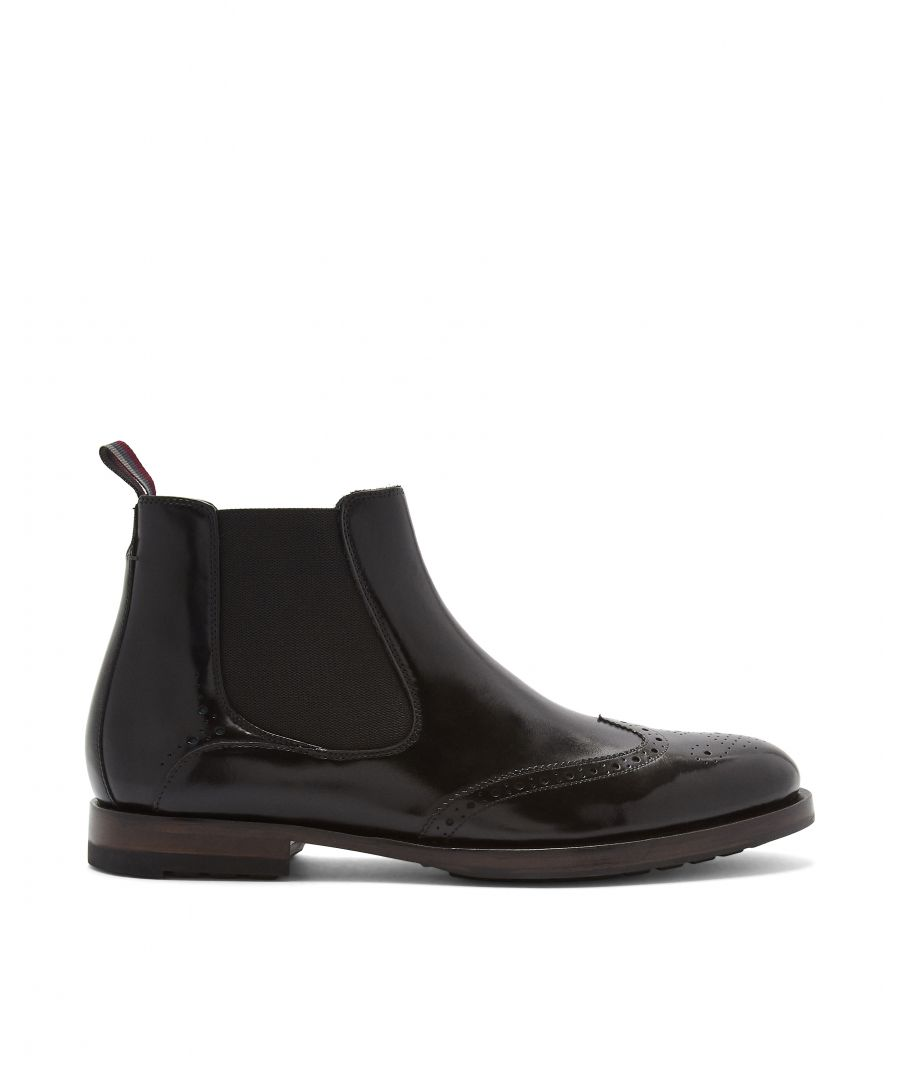 Image for Ted Baker Camheri Leather Brogue Detail Chelsea Boots, Black