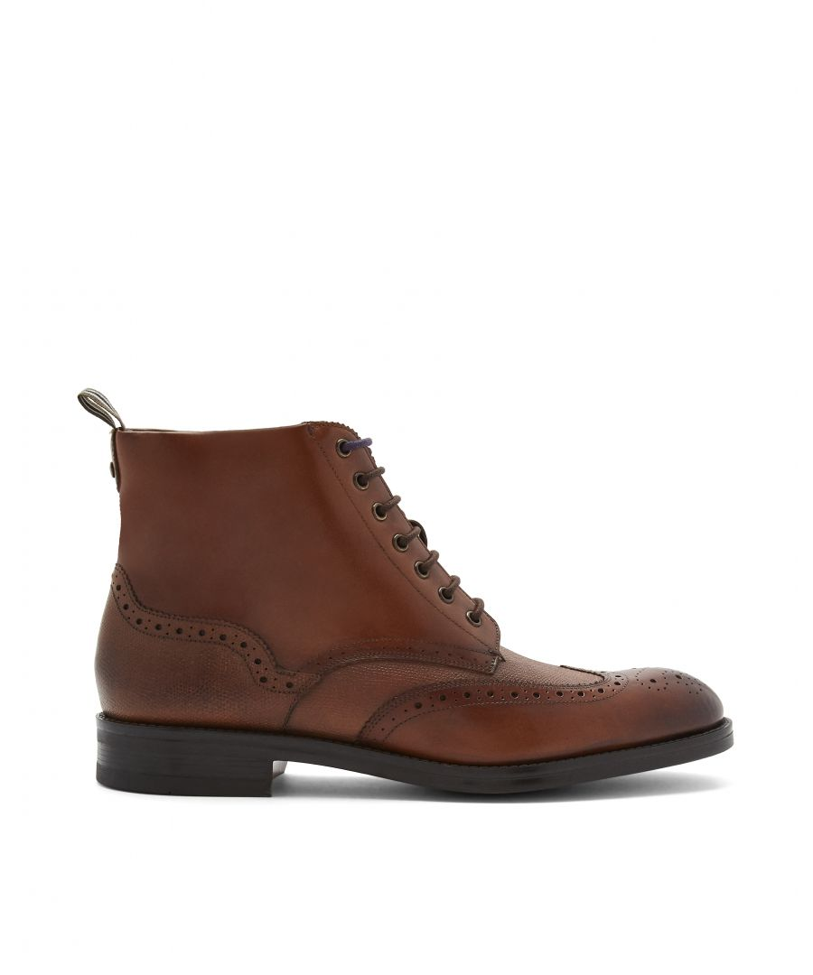 Image for Ted Baker Twrens Burnished Leather Brogue Boot, Tan