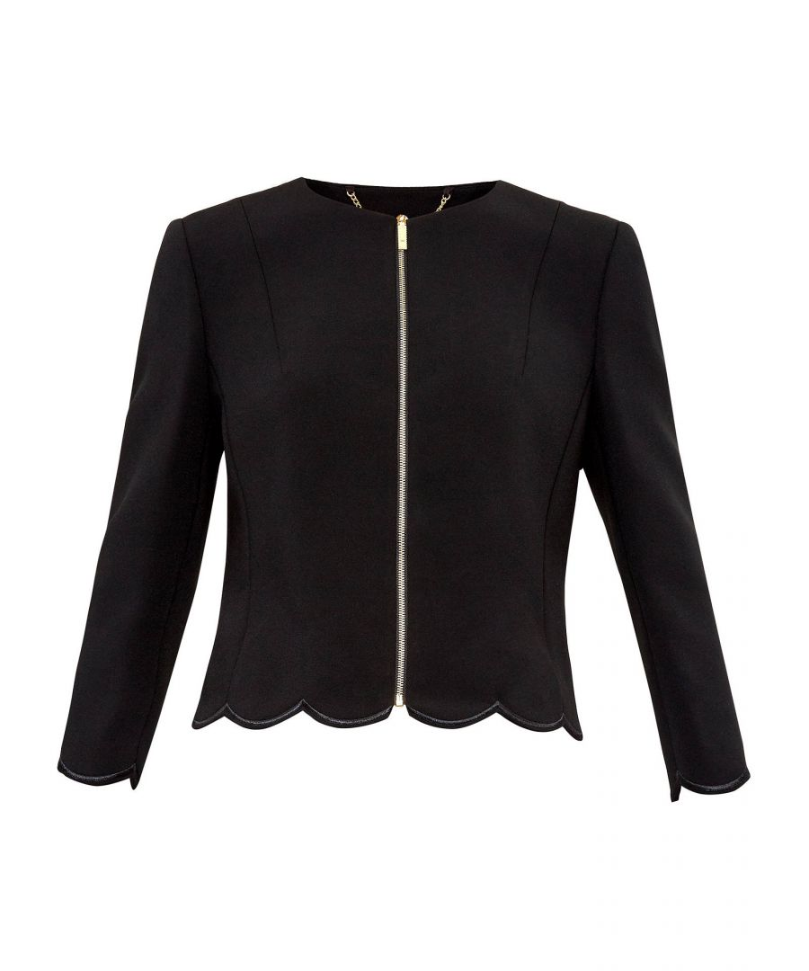 Image for Ted Baker Heraly Scallop Trim Cropped Jacket, Black