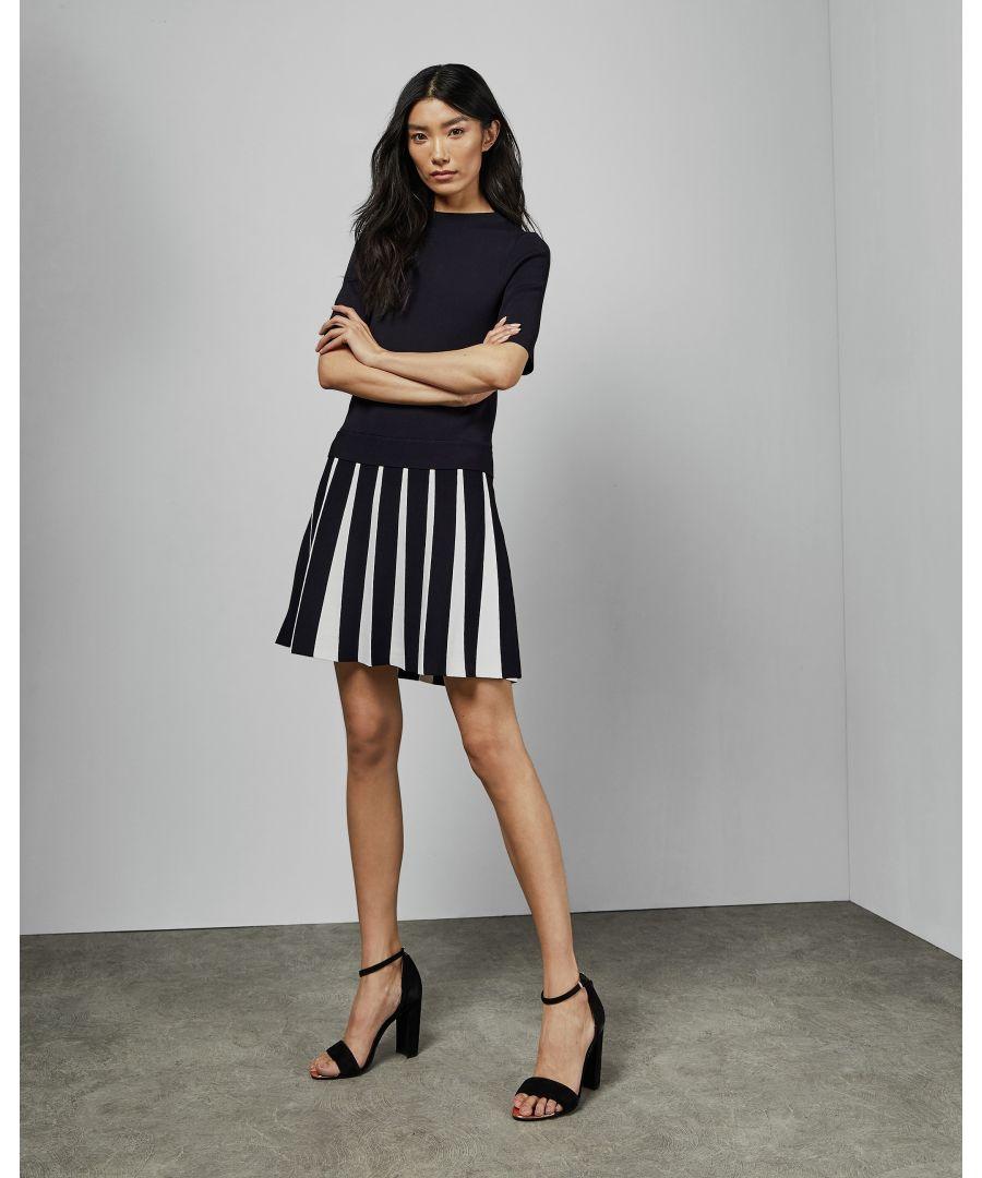 Image for Ted Baker Hethia Pleat Skirt Knitted Flippy Drs, Navy