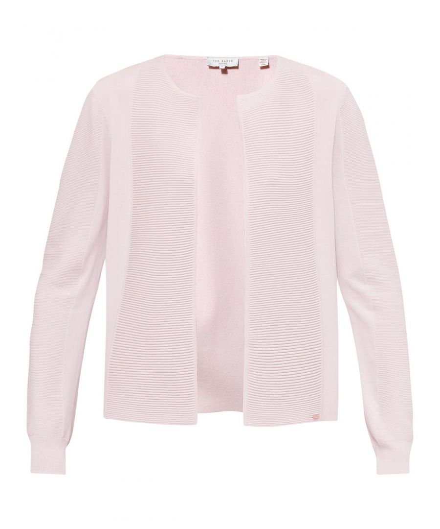 Image for Ted Baker Hetts Ribbed Open Cardigan, Baby Pink