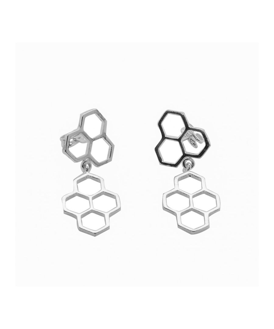 Image for Silver Honeycomb Panel Drop Earrings