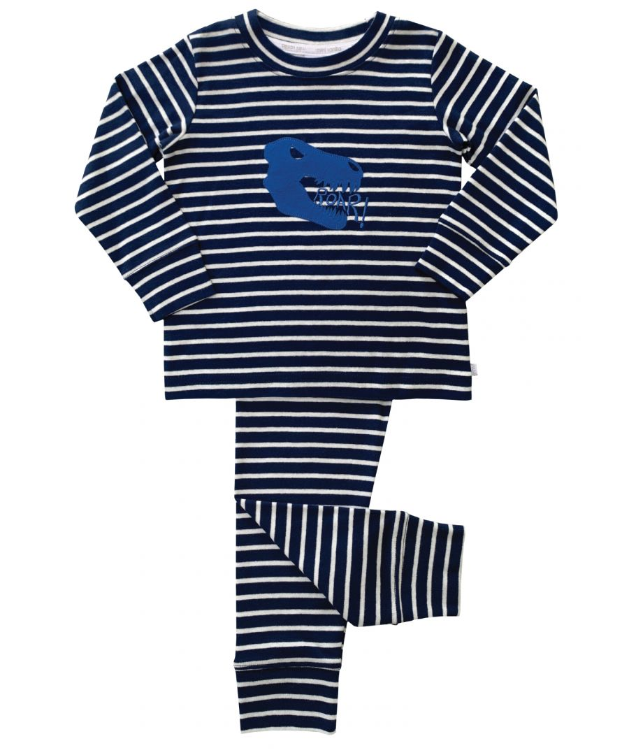Image for Boys Striped Dino Skinny Fit Pyjamas