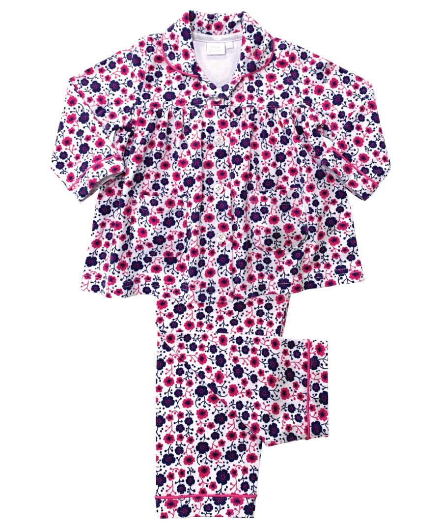 Image for Girls Jersey Traditional Pyjamas
