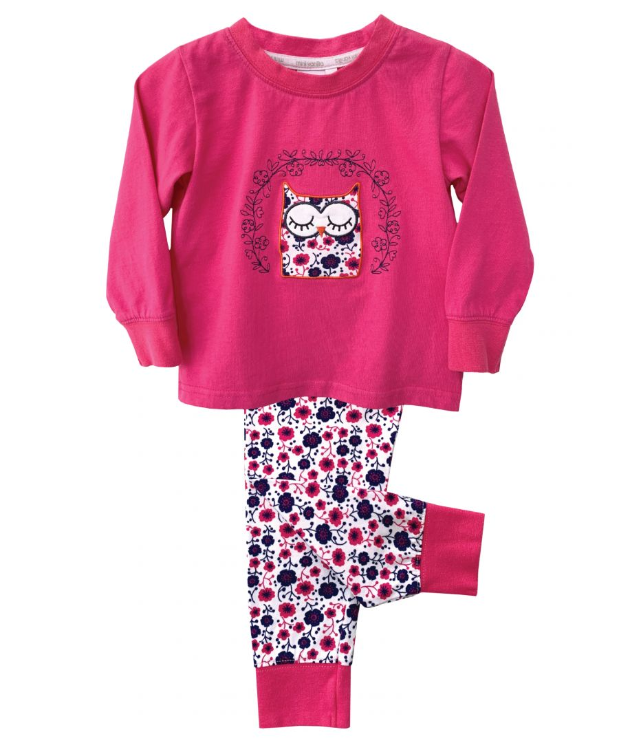 Image for Girls Owl Embroidery Skinny Fit Pyjamas