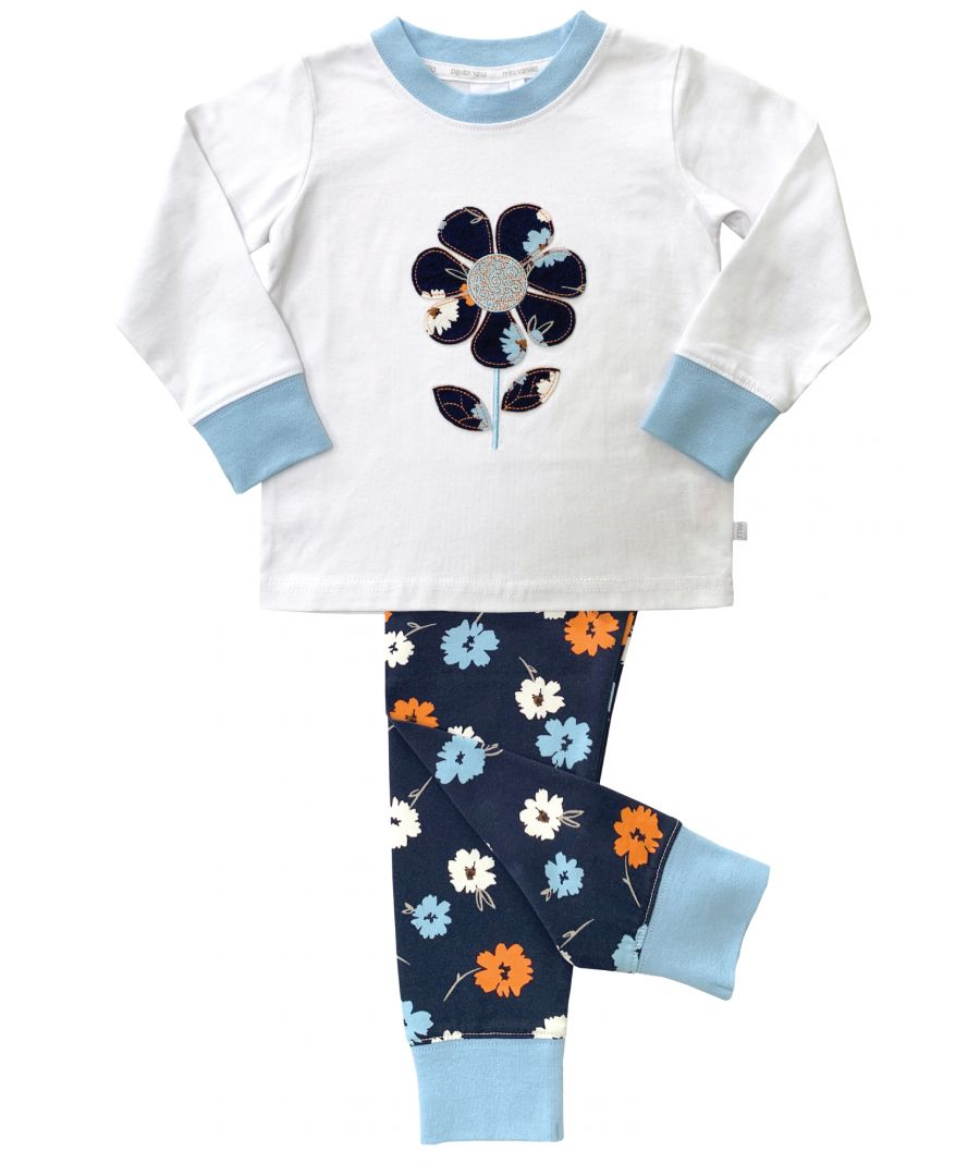 Image for Girls Navy Floral Print Skinny Fit Pyjamas