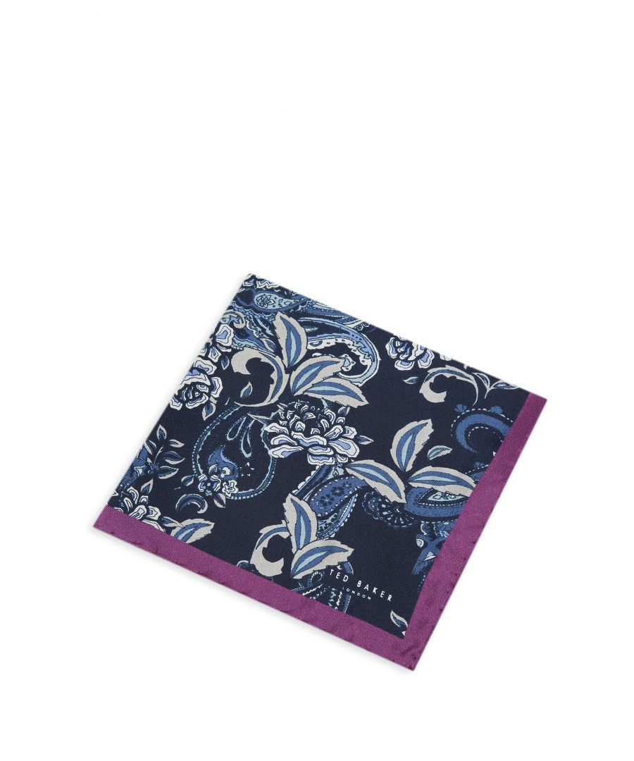 Image for Ted Baker Horam Paisley Pocket Square, Navy