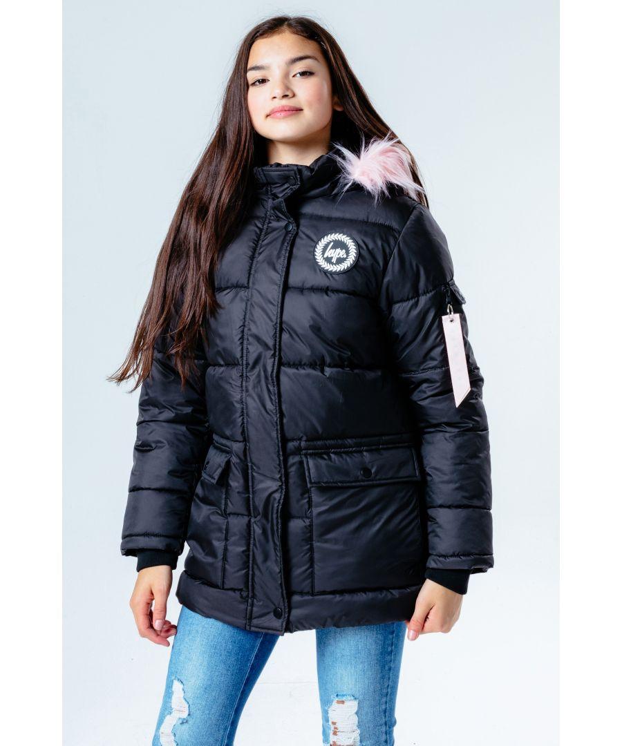 Image for Hype Black Pink Hood Kids Explorer Jacket