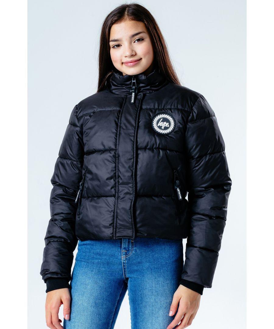 Image for Hype Black Hood Kids Crop Puffer Jacket