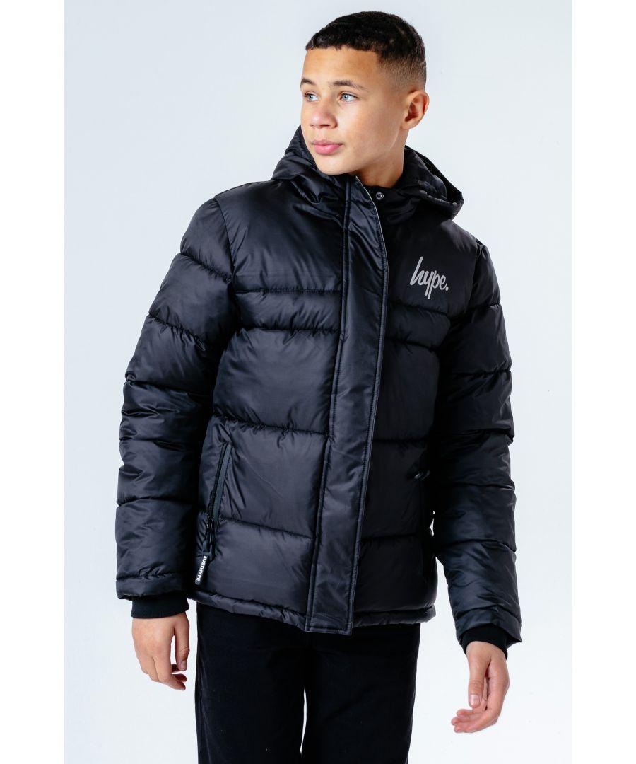 Image for Hype Black Padded Reflective Kids Jacket