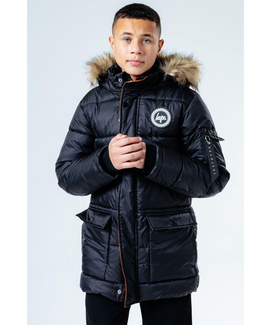 Image for Hype Black Faux Fur Hood Kids Explorer Jacket