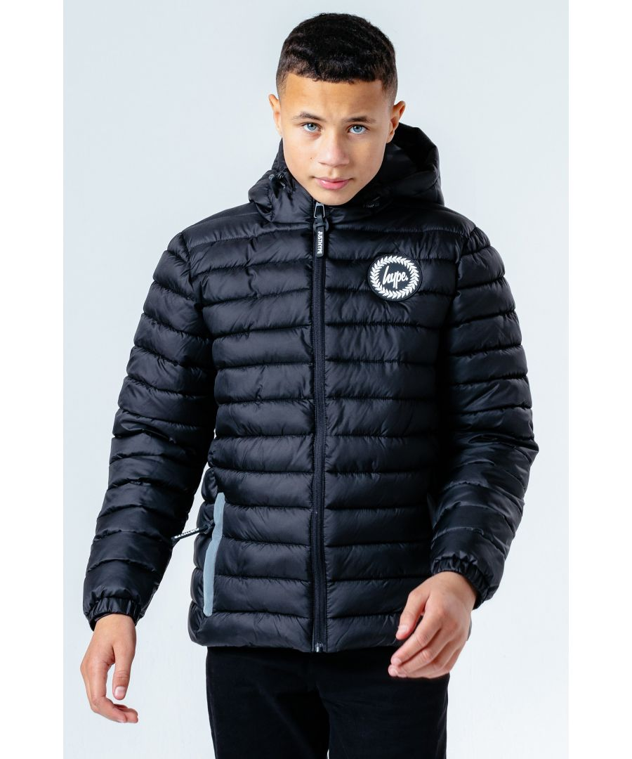 Image for Hype Black Branded Zip Kids Puffer Jacket