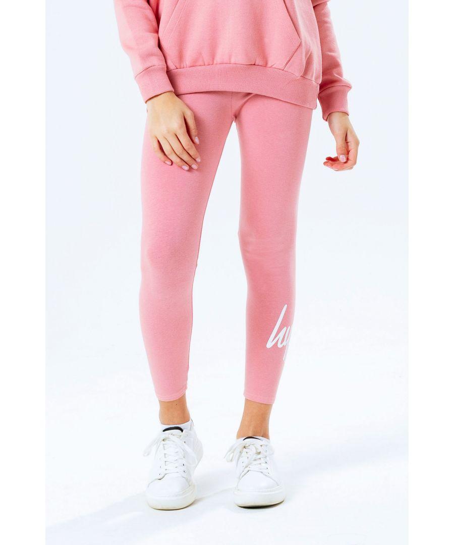 Image for Hype Pink Script Logo Kids Leggings