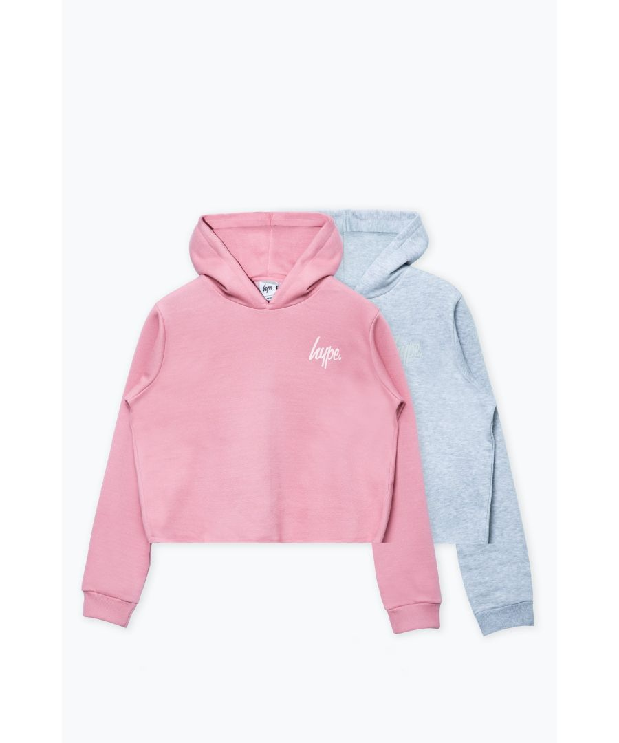 Image for Hype Two Pack Pink & Grey Kids Crop Pullover Hoodies