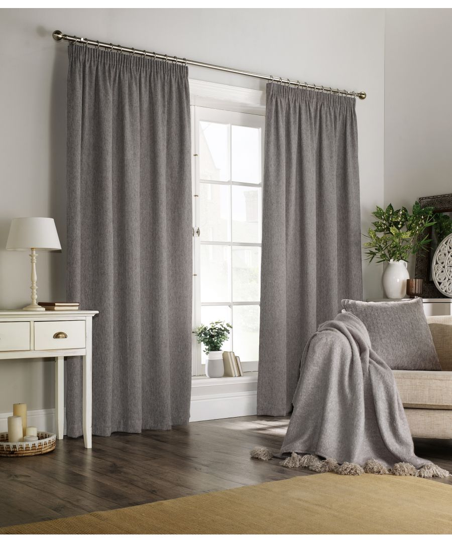 Image for Harrison Herringbone Pencil Pleat Curtains in Grey