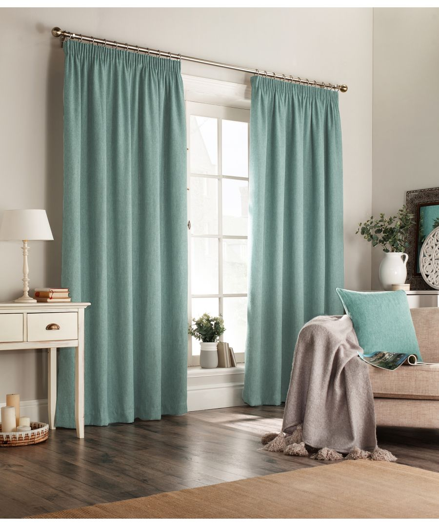 Image for Harrison Herringbone Pencil Pleat Curtains in Marine