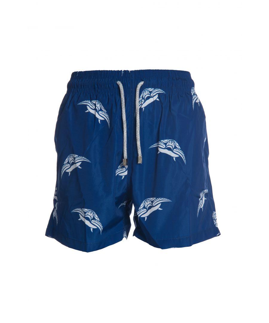 Image for Boys's Blue & White Leaf Swim Shorts