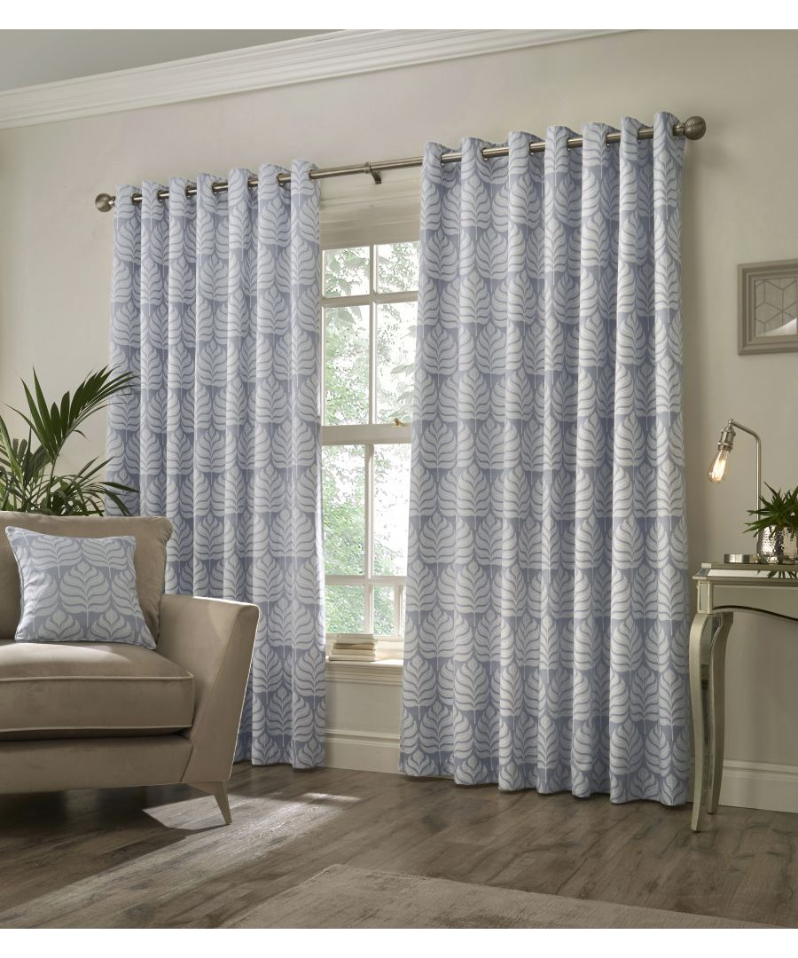 Image for Horto Botanical Eyelet Curtains in Blue