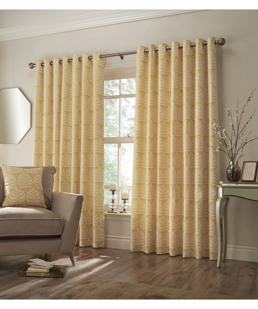 Image for Horto Botanical Eyelet Curtains in Ochre