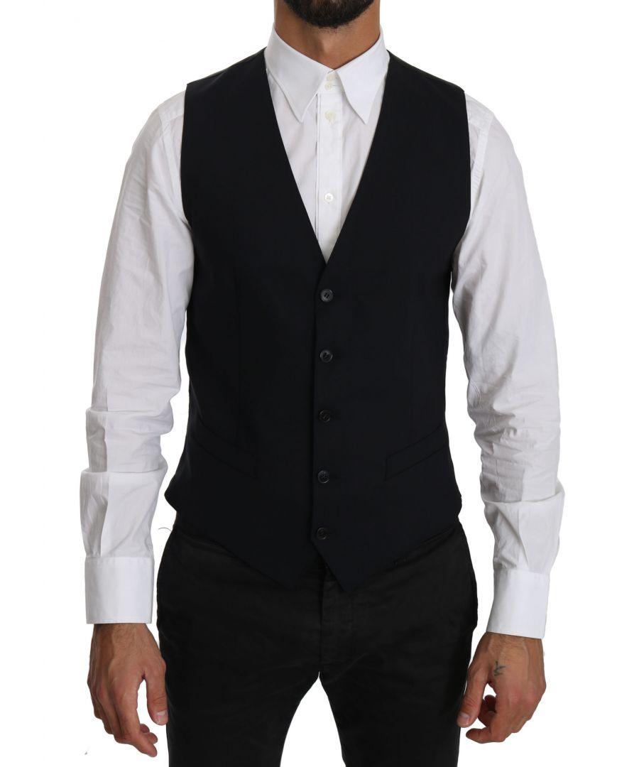 Image for Dolce & Gabbana Blue Wool Waistcoat Formal Gilet Vest