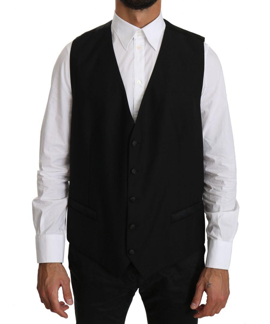 Image for Dolce & Gabbana Black Wool  Waistcoat Formal Gilet Vest