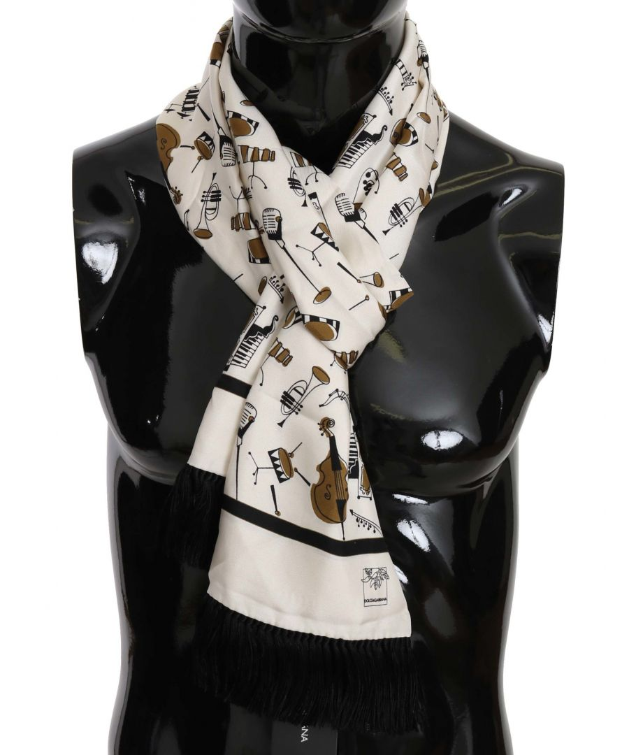 Image for Dolce & Gabbana Beige Silk Gold Music Print Wrap Scarf