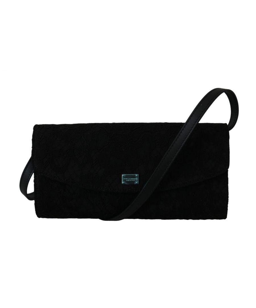 Image for Dolce & Gabbana Black Floral Lace Evening Long Clutch Borse Cotton Bag