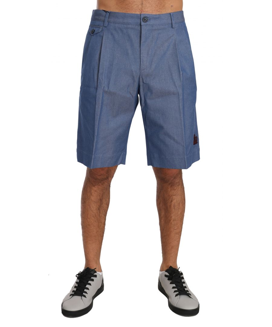 Image for Dolce & Gabbana BYX1306Blue Cotton Crown Chinos Knees High Shorts
