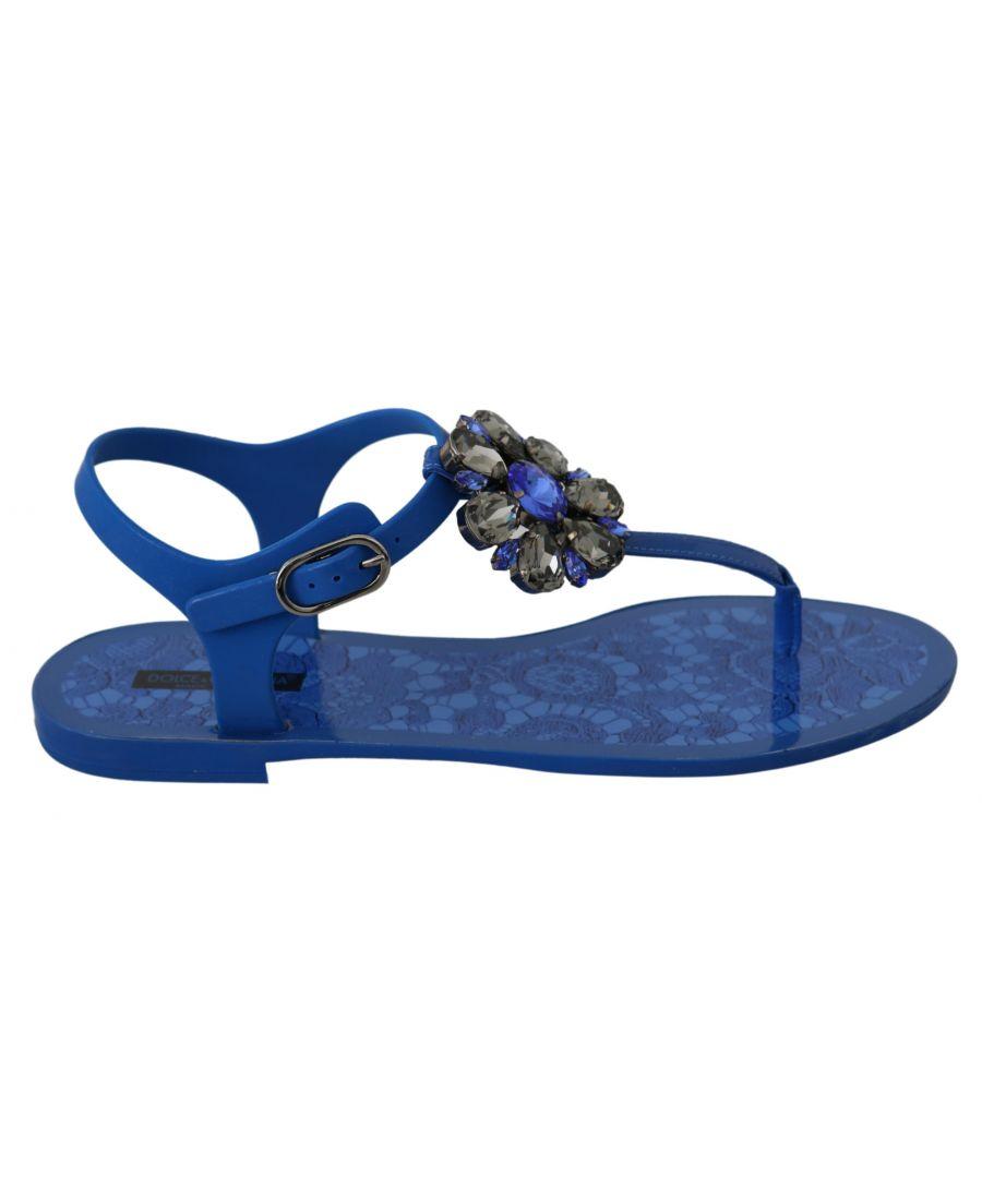 Image for Dolce & Gabbana Blue Crystal Sandals Flip Flops Shoes