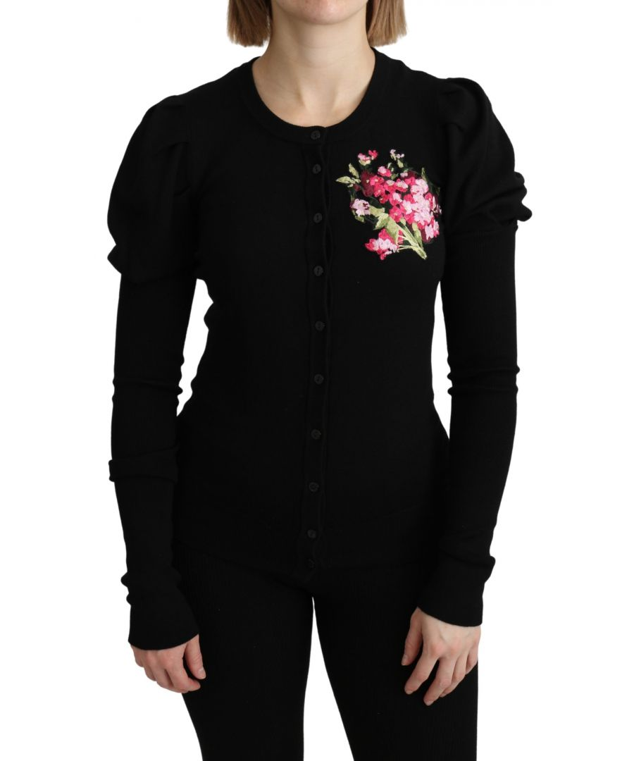 Image for Dolce & Gabbana Black Floral Long Sleeve Cardigan Sweater