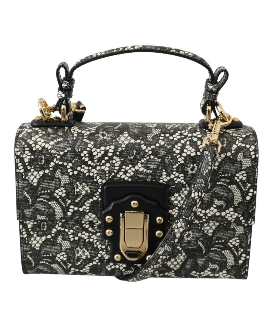 Image for Dolce & Gabbana Black Beige Leather Lace Shoulder LUCIA Purse Bag