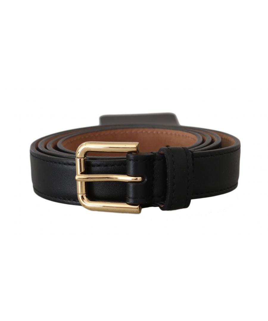 Image for Dolce & Gabbana Black Leather Gold Buckle Waist Belt