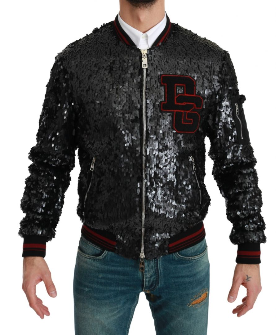 Image for Dolce & Gabbana Black Sequined Bomber Coat Jacket