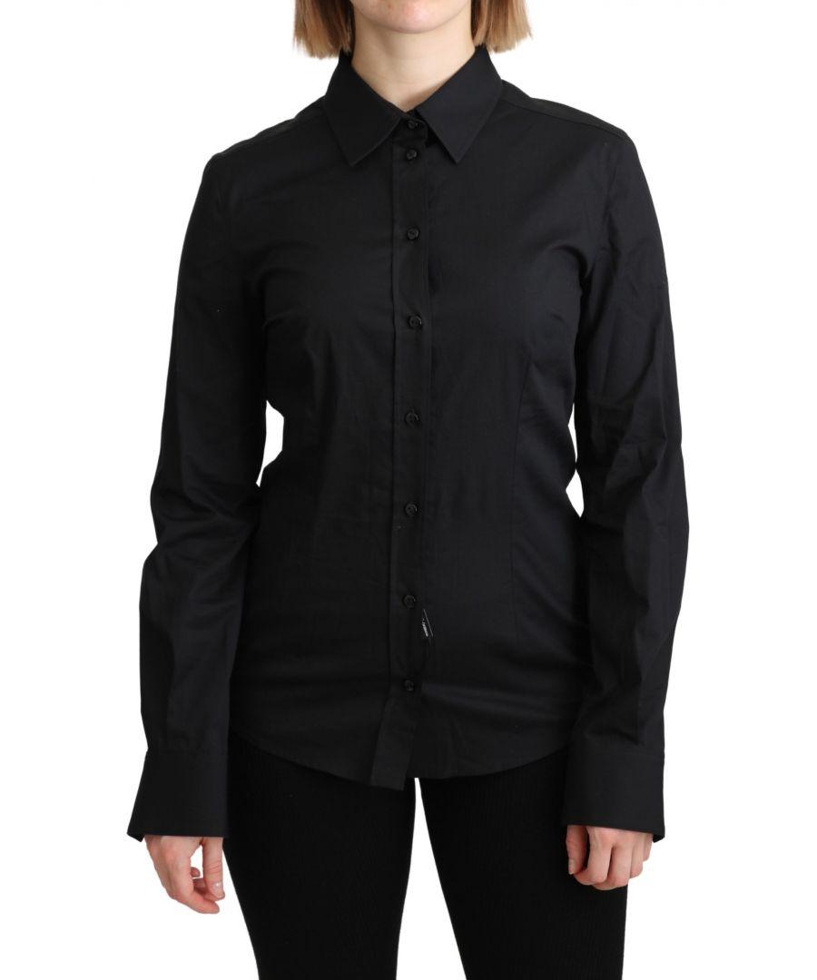 Image for Dolce & Gabbana Black Formal Dress Shirt Cotton Top Shirt