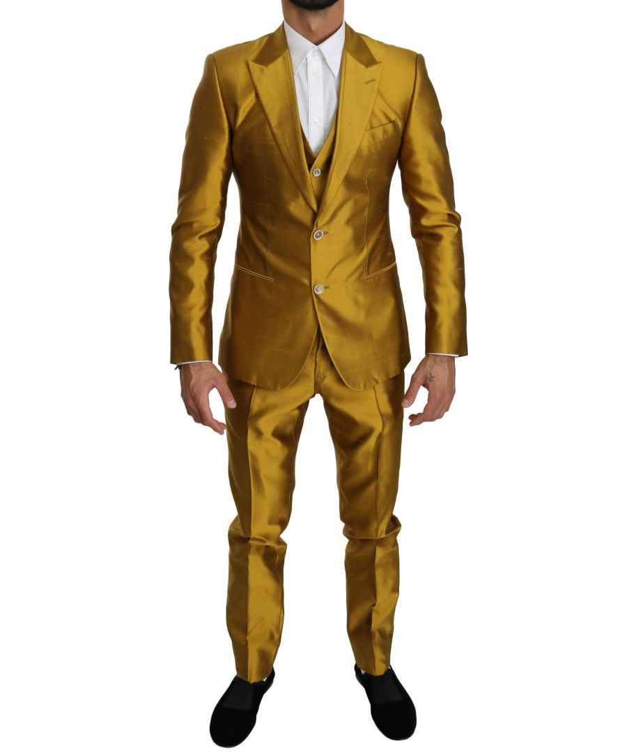 Image for Dolce & Gabbana Gold Silk Slim Fit 3 Piece SICILIA Suit
