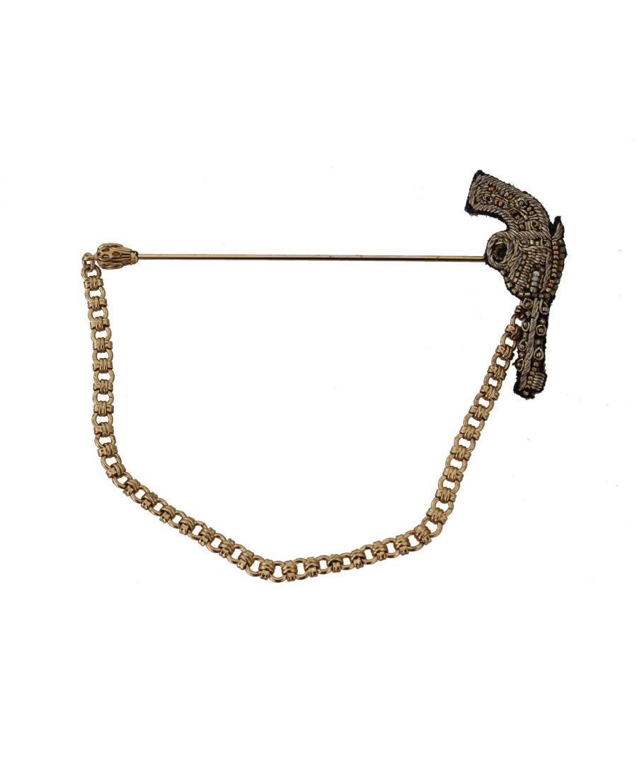 Image for Dolce & Gabbana Lapel Pin Gold Brass Copper Revolver Gun Brooch
