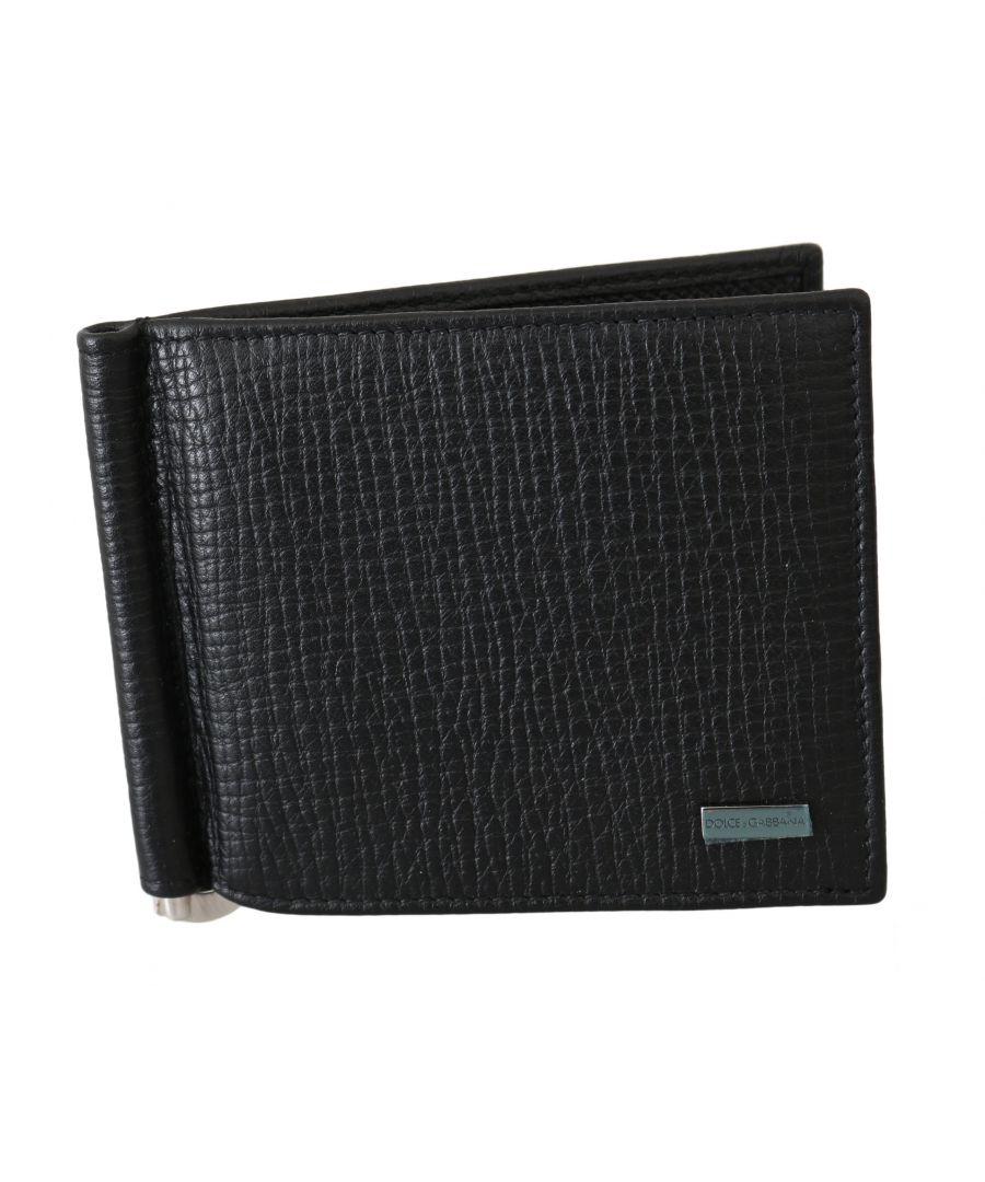 Image for Dolce & Gabbana Black Patterned Leather Cardholder Bifold Men Wallet