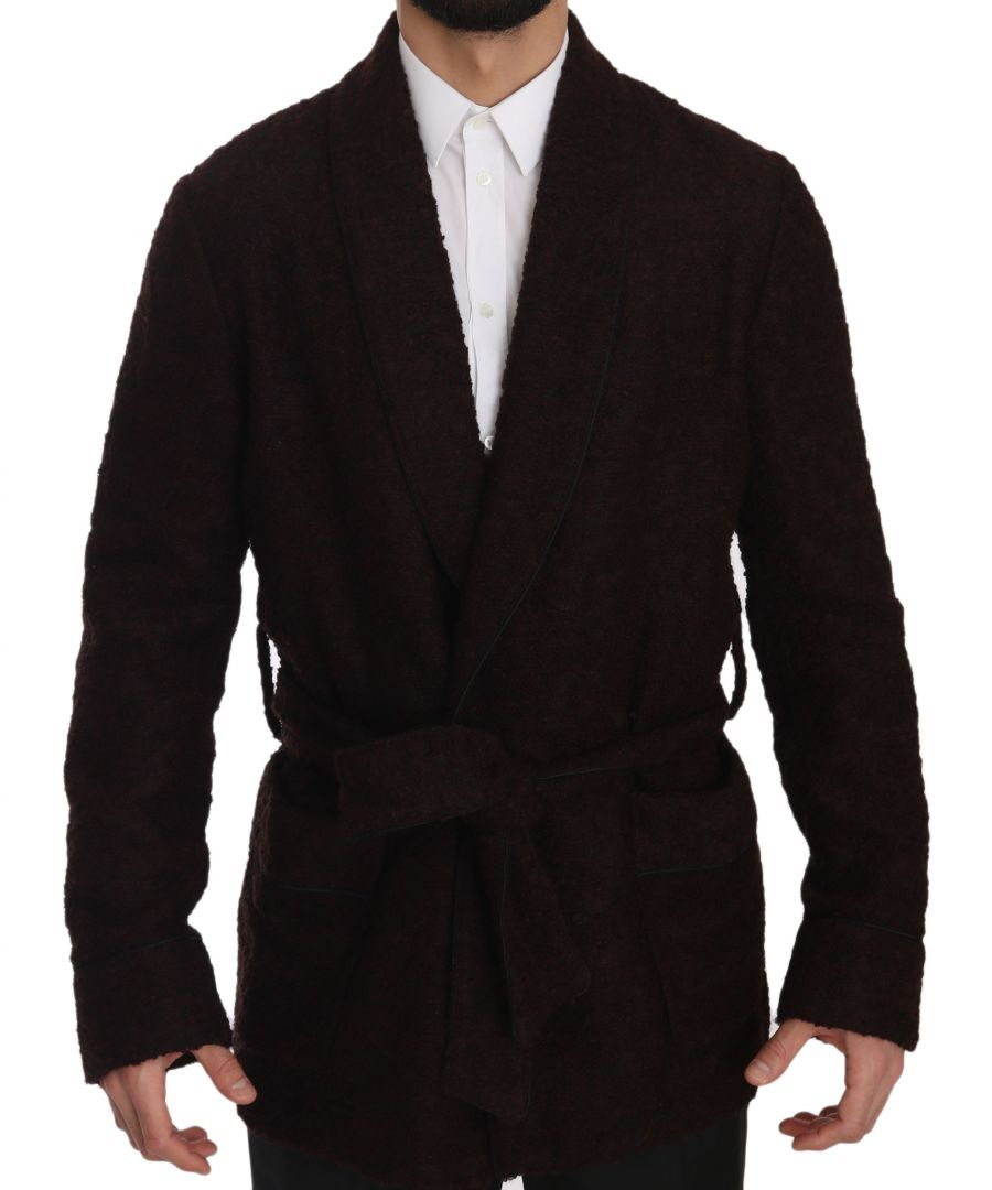Image for Dolce & Gabbana Bordeaux Robe Coat Mens Wrap  Jacket