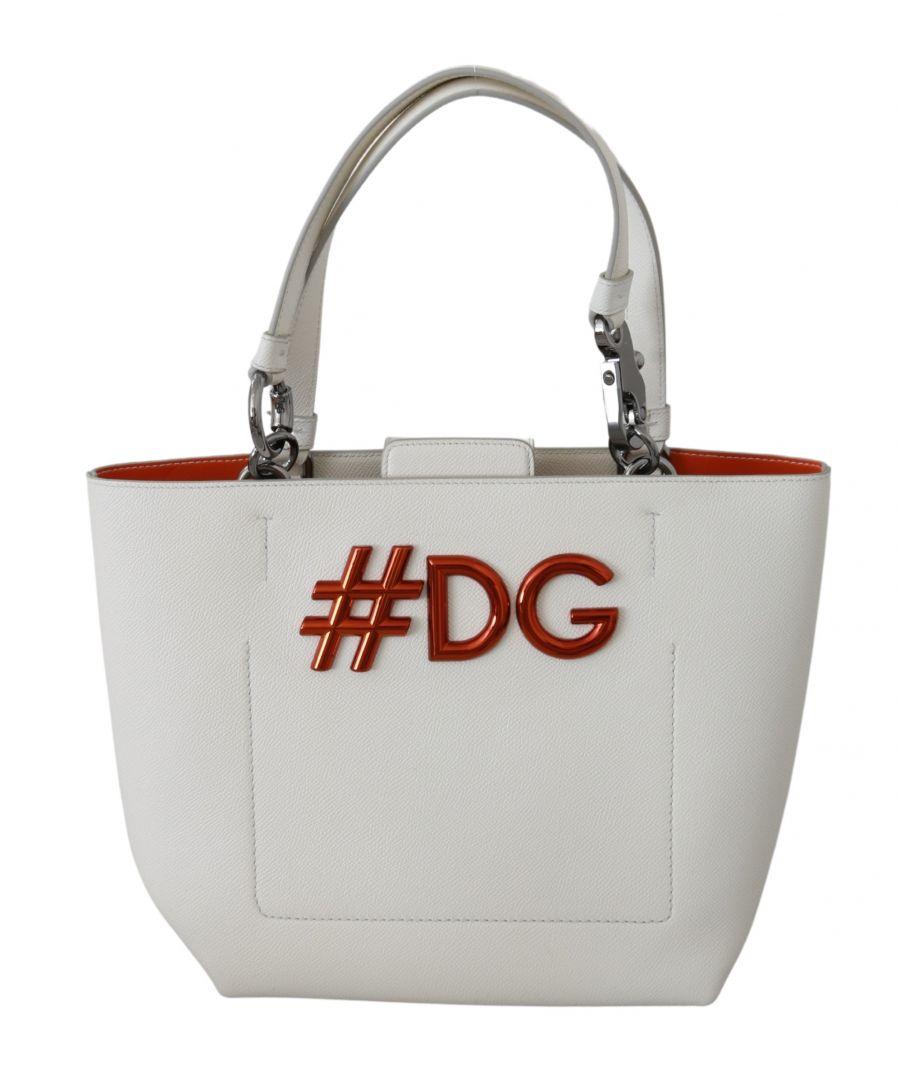 Image for Dolce & Gabbana Weiß #DG Frauen Hand Tote Borse Leder BEATRICE Tasche