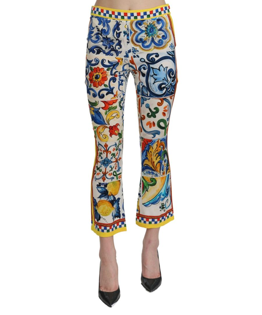 Image for Dolce & Gabbana White Majolica Mid Waist Flared Cropped Pants